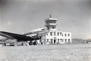 Airport ternial and plane, 1946.